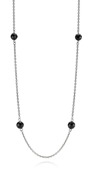 Pandora Oxidised Sterling Silver Onyx Station Chain