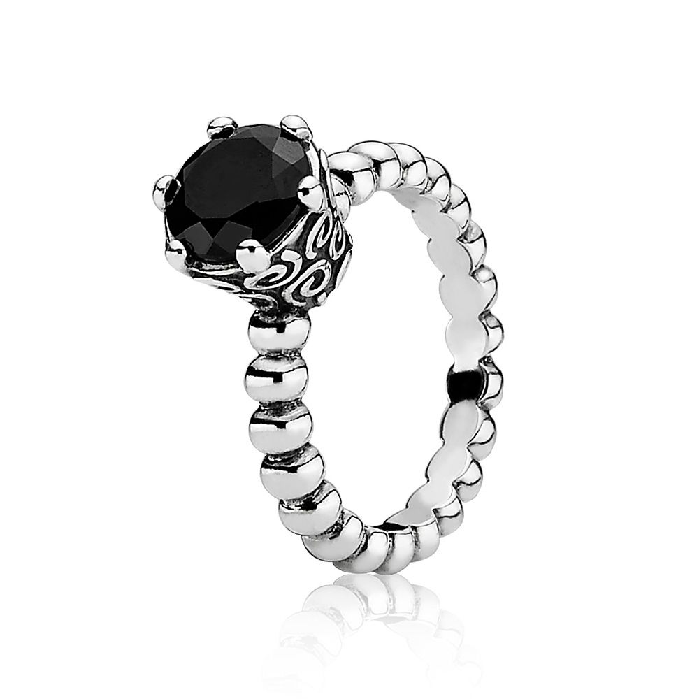 Pandora Sterling Silver and Melanite Ring, Purple