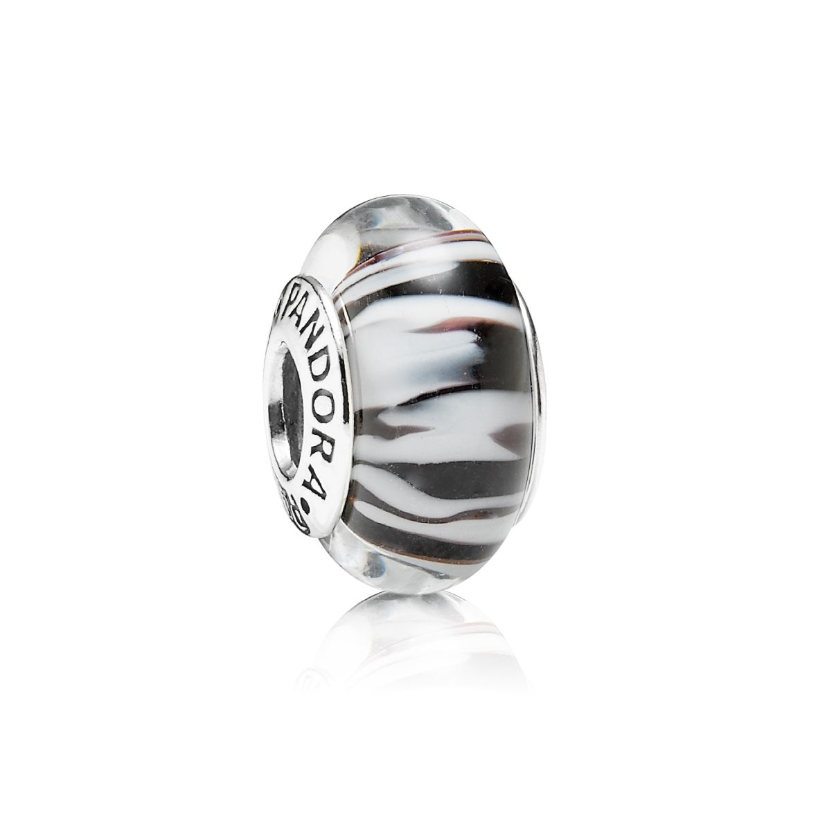 Zebra Print Black & White Murano Glass Charm