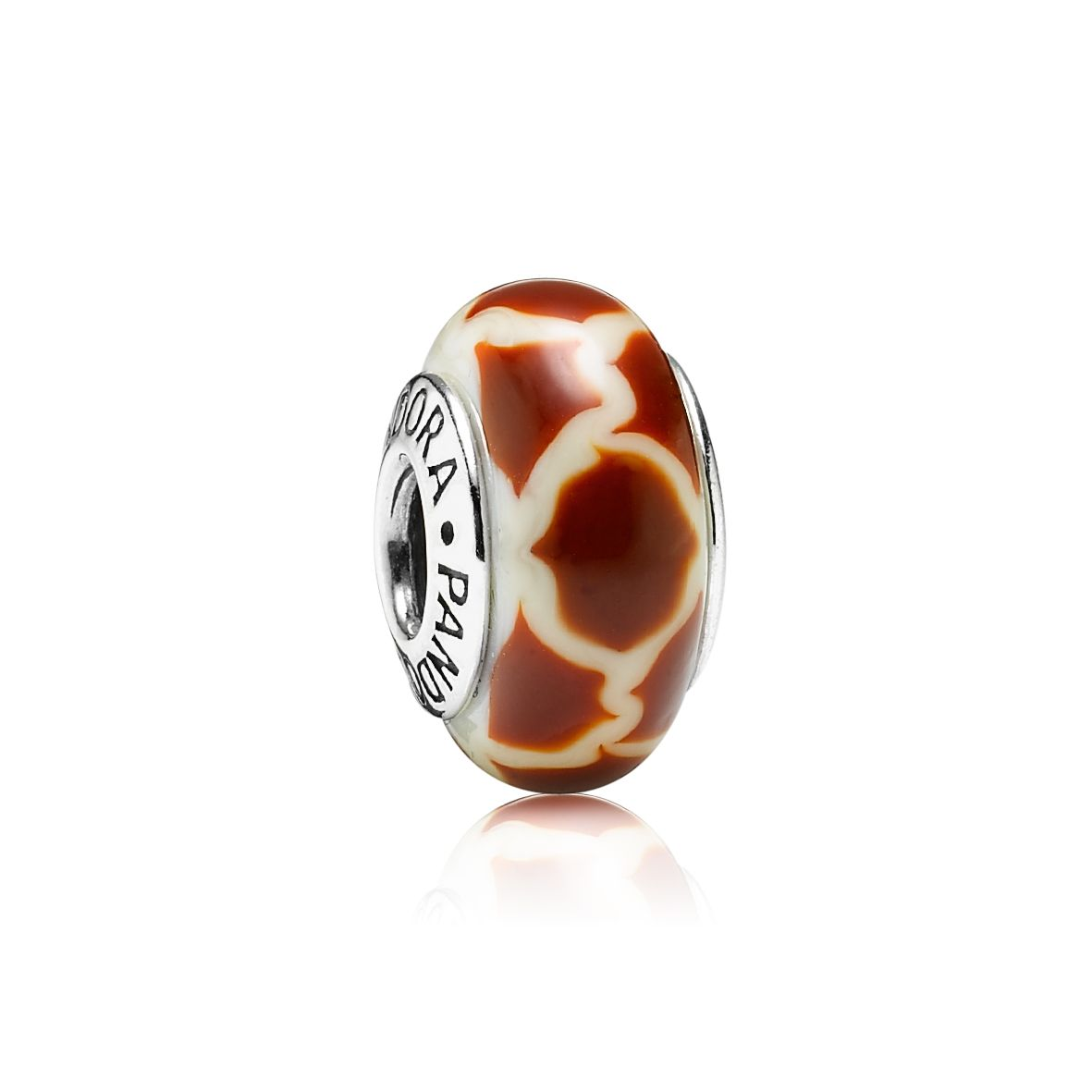 Giraffe Print White & Brown Murano Glass Charm