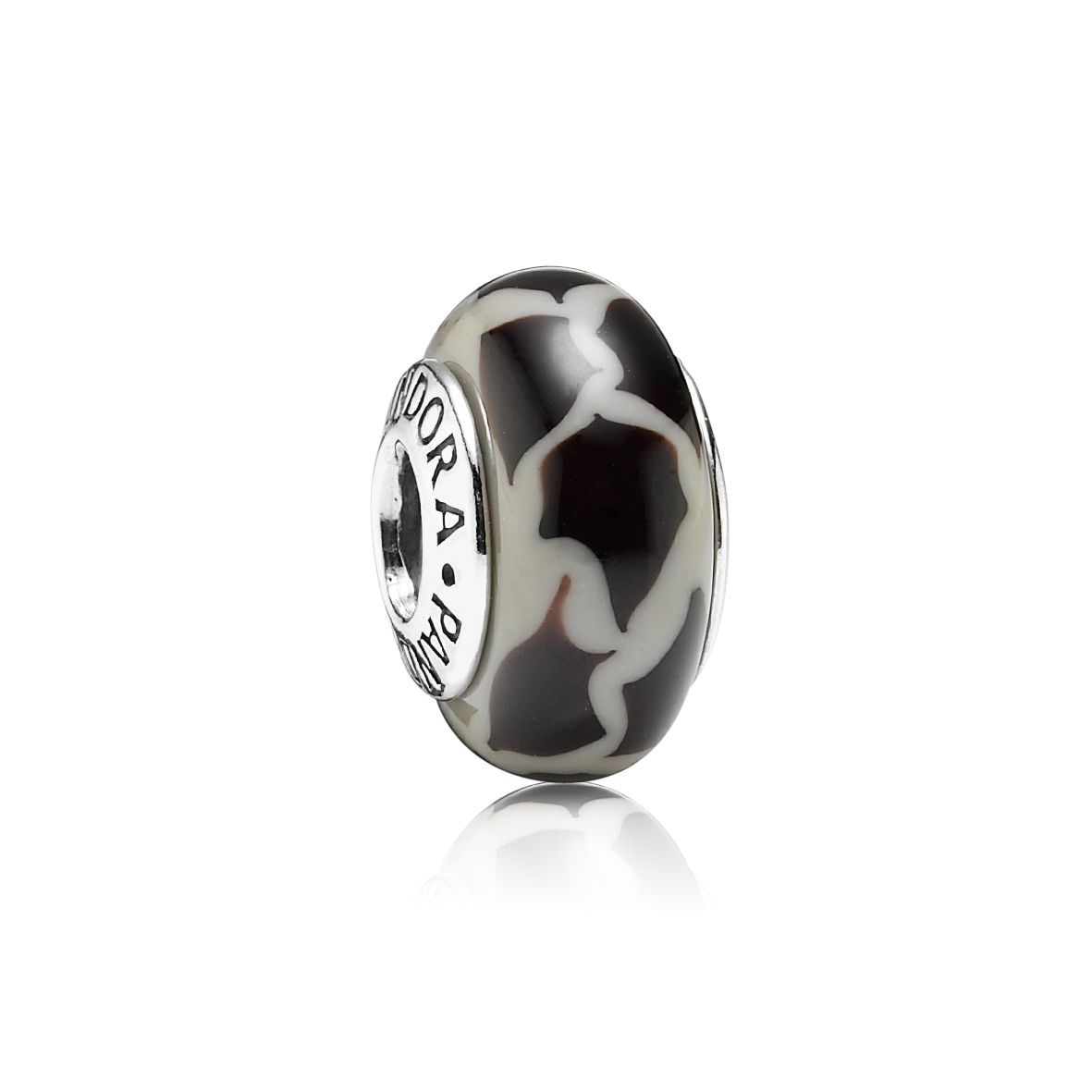 Giraffe Print Black & Grey Murano Glass Charm