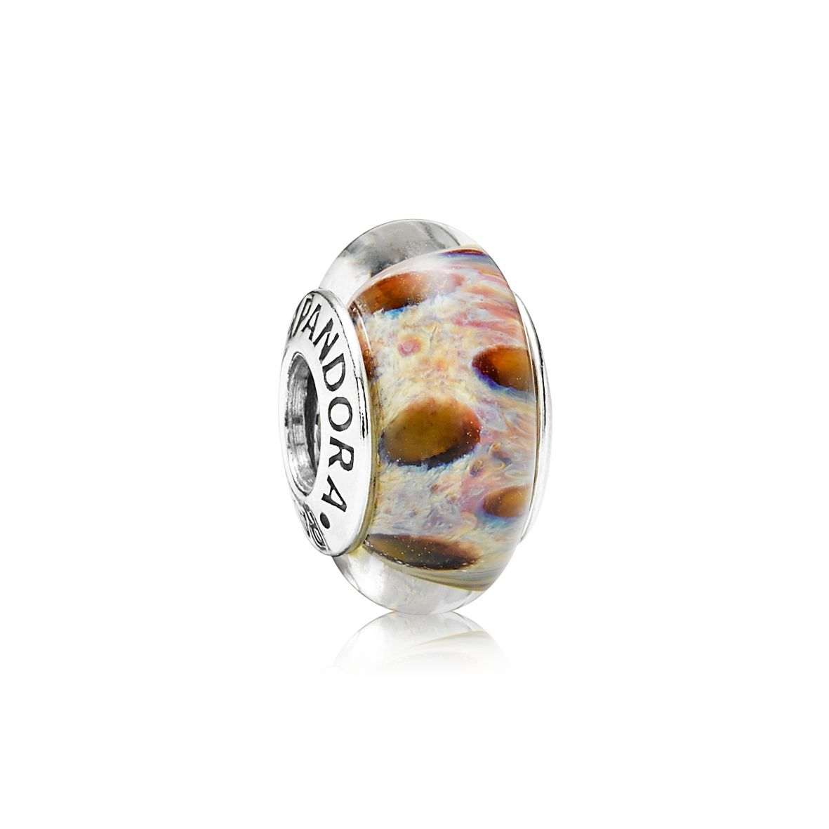 Leopard Print Brown Murano Glass Charm