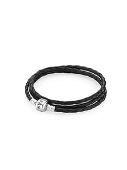 Triple Leather Bracelet Black