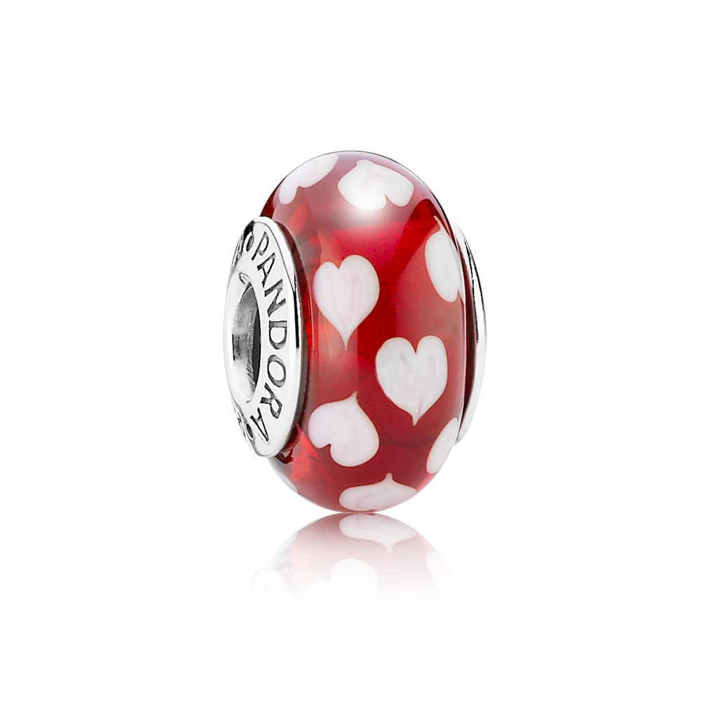 Red & White Heart Murano Charm