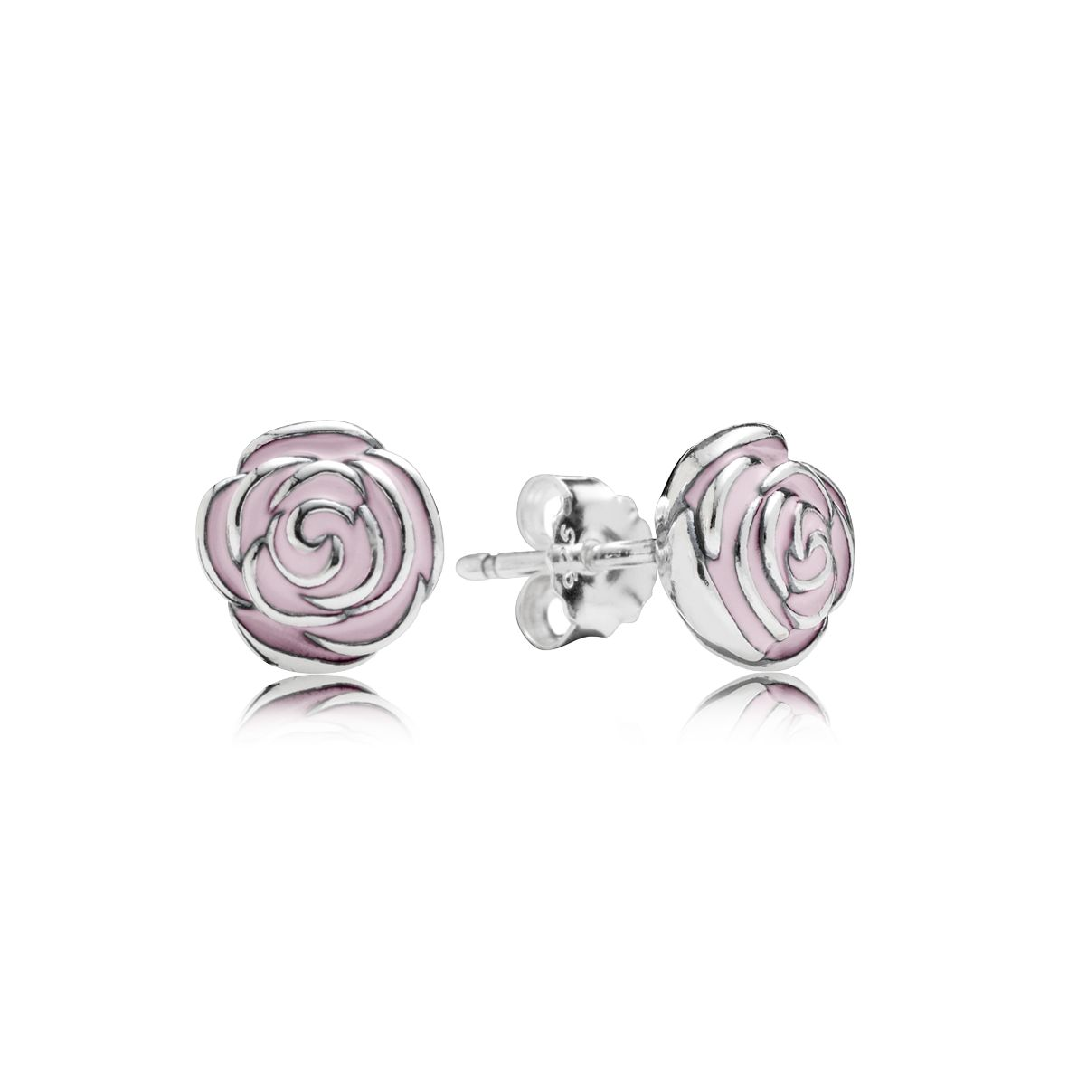 Roses silver stud earrings with pink enamel