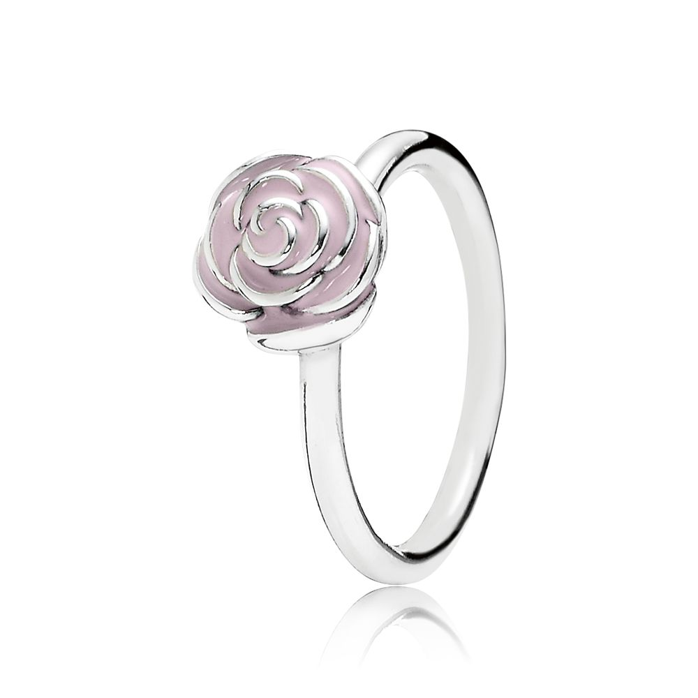 Rose silver ring with pink enamel