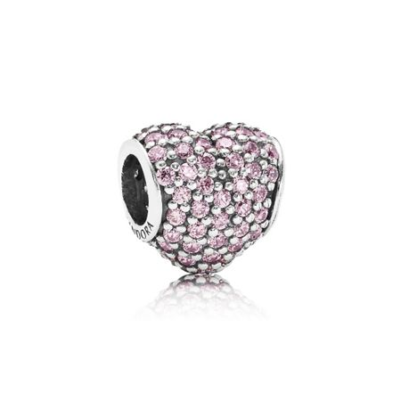 Pandora Heart pave pink cubic zirconia silver charm