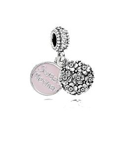 Sweet mother pink enamel silver dangle charm