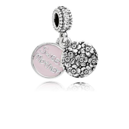 Pandora Sweet mother pink enamel silver dangle charm