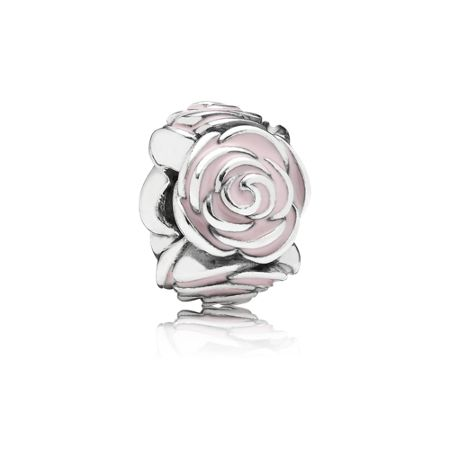 Pandora Roses silver charm with pink enamel