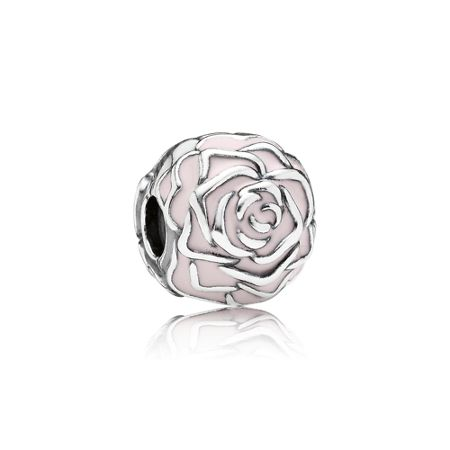 Pandora Roses silver clip with pink enamel