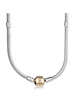 Silver necklace with 14ct lock