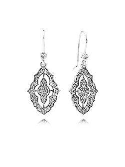 Silver cubic zirconia pendant earrings