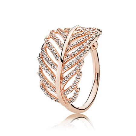 Pandora Rose feather ring
