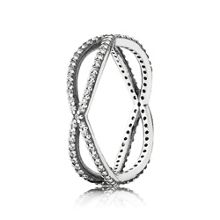 Entwined silver ring with cubic zirconia