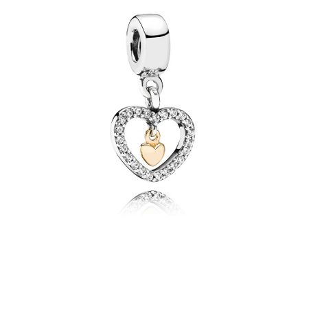 Pandora Heart silver dangle with 14k CZ