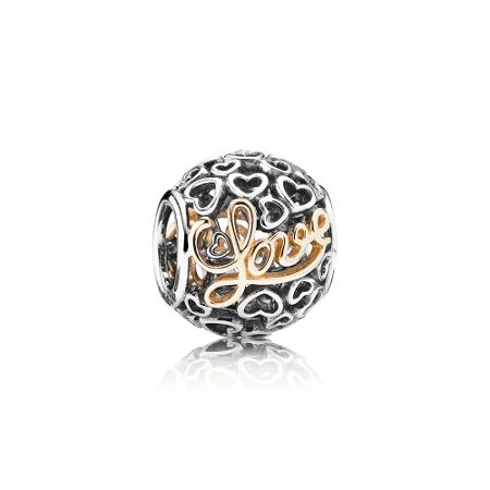 Pandora Love silver charm with 14k