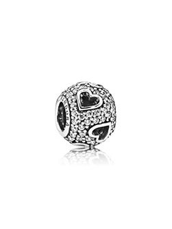 Abstract pave silver charm CZ