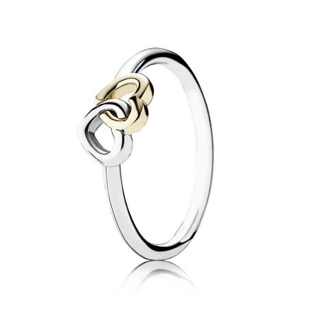 Pandora Interlocked hearts silver ring with 14k