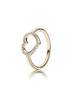 Heart gold ring with cubic zirconia