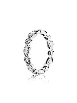 Round oval eternity silver ring cz