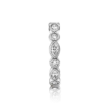 Pandora Round oval eternity silver ring cz
