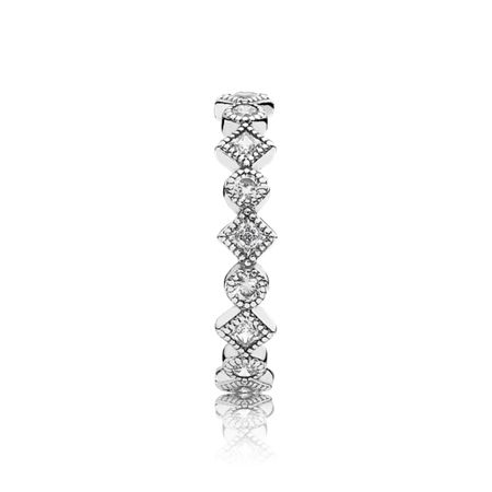 Pandora Round square eternity silver ring cz