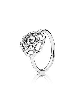 Silver and cubic zirconia flower ring