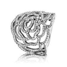 Pandora Silver and cubic zirconia flower ring