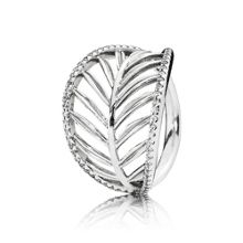 Palm tree silver ring