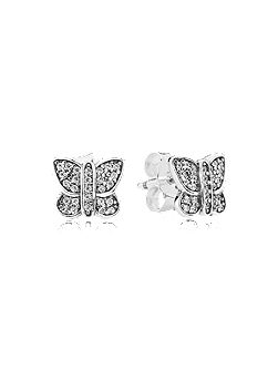 Butterfly silver stud earrings cz
