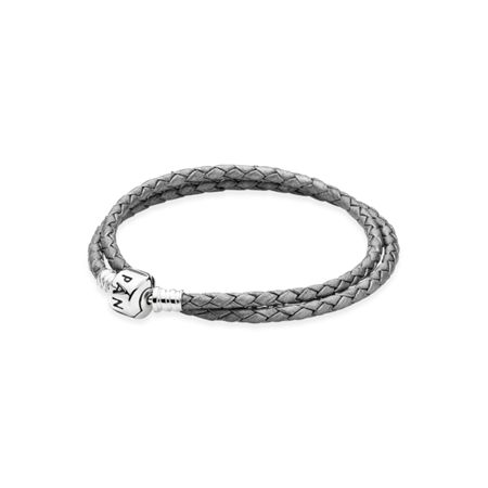 Pandora Silver leather double bracelet