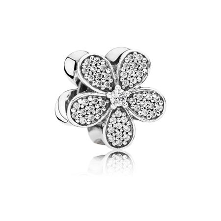 Pandora Daisy pave silver charm with cz