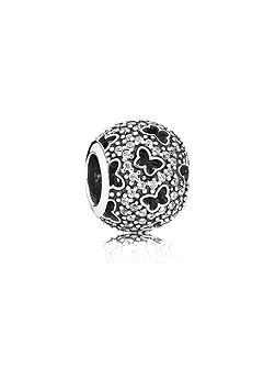 Abstract micro pave silver charm cz