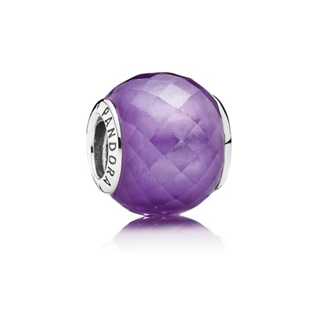 Pandora Abstract faceted silver charm purple cz