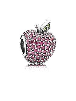 Apple pave silver charm red cz