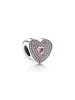 Heart silver and cubic zirconia charm