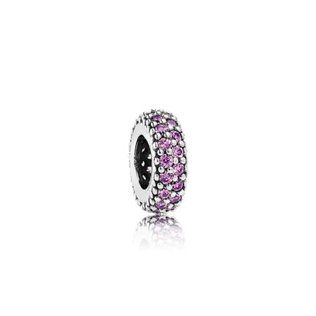 Pandora Abstract silver spacer fancy purple cz