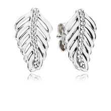 Shimmering feathers stud earrings