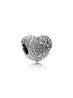 Angelic feathers heart charm
