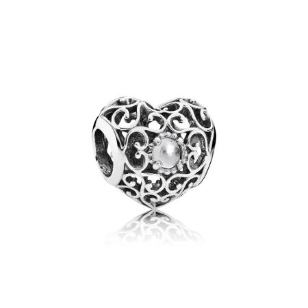 Pandora April signature heart birthstone charm