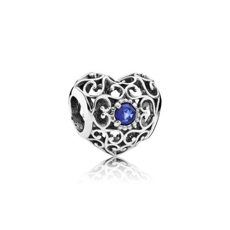 Pandora September signature heart birthstone charm
