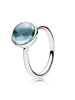 Blue poetic droplet ring