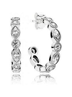 Alluring briliant marquise hoops