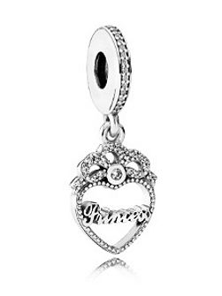 Princess crown heart dangle charm