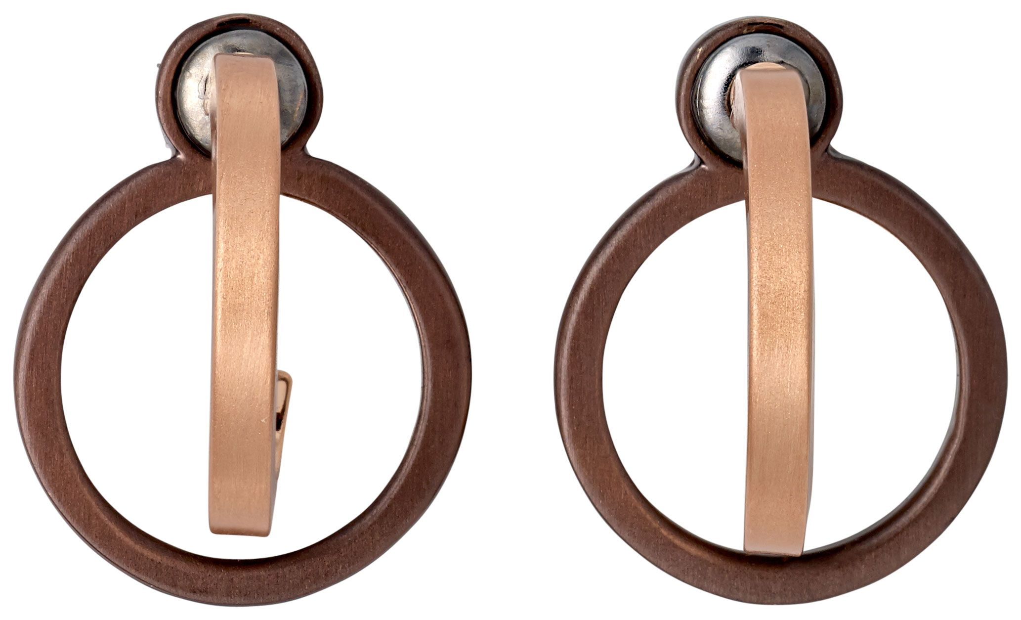 Pilgrim Rose Gold And Brown Plated Earrings, Rose Gold