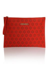 Little Mistress Red cut out pu flat clutch