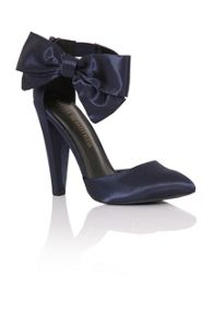 Little Mistress Satin bow court shoes