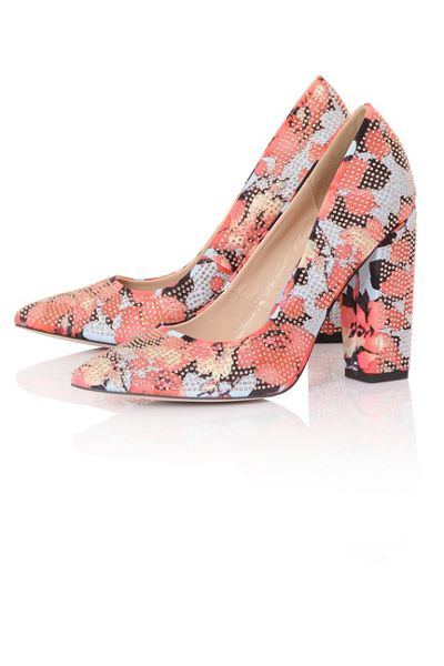 Little Mistress Floral stone court shoes