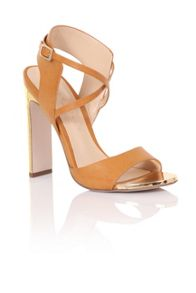 Paper Dolls Double strap gold heels